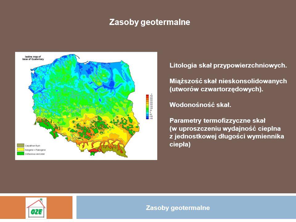 Zasoby geotermalne Litologia skał przypowierzchniowych.