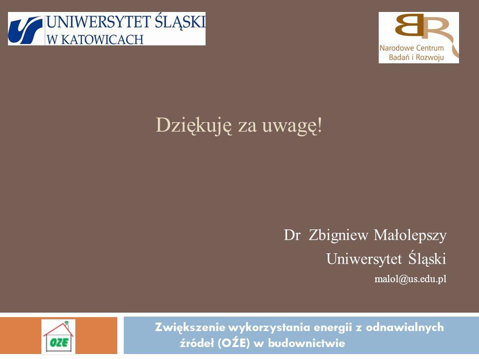 Dziękuję za uwagę! Dr Zbigniew Małolepszy Uniwersytet Śląski