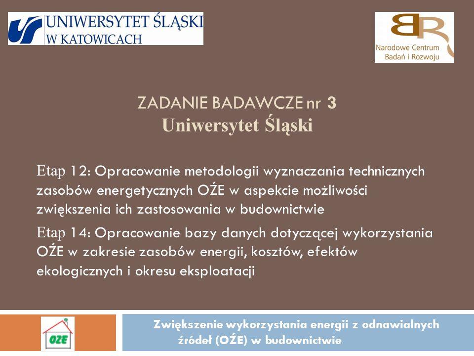 ZADANIE BADAWCZE nr 3 Uniwersytet Śląski