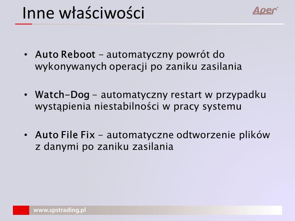 Inne właściwości Auto Reboot - automatyczny powrót do wykonywanych operacji po zaniku zasilania.