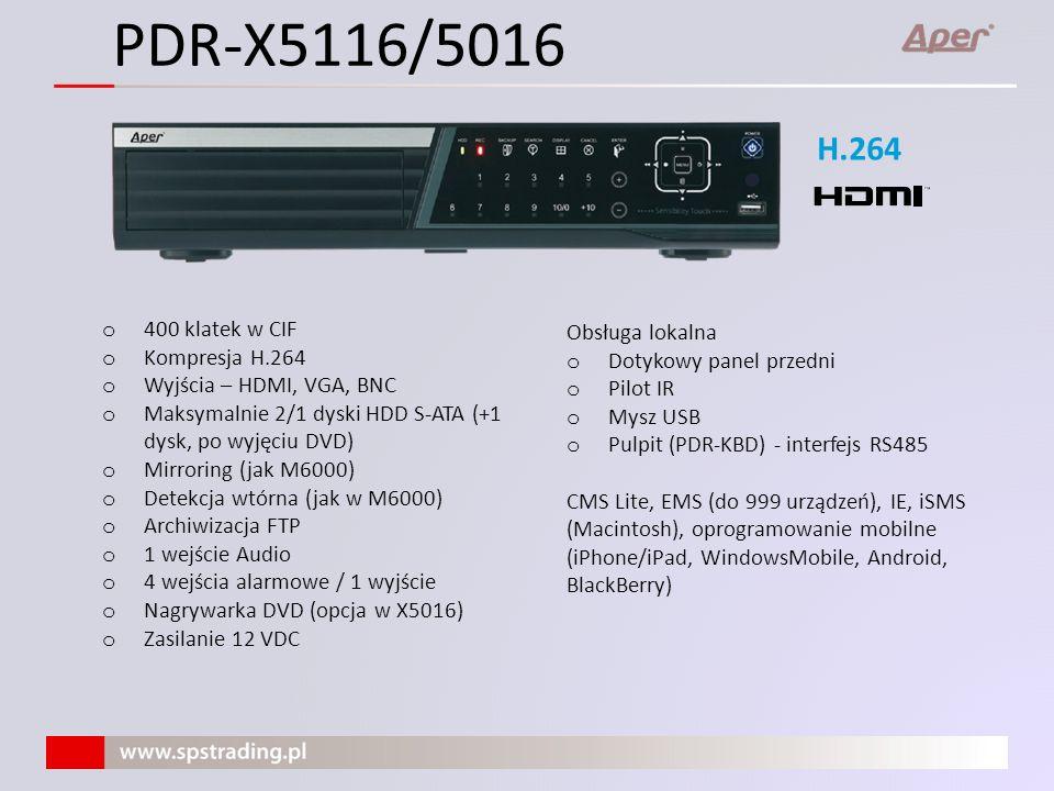 PDR-X5116/5016 H.264 400 klatek w CIF Obsługa lokalna Kompresja H.264