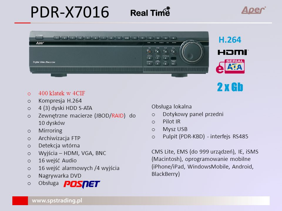 PDR-X7016 2 x Gb H.264 400 klatek w 4CIF Kompresja H.264