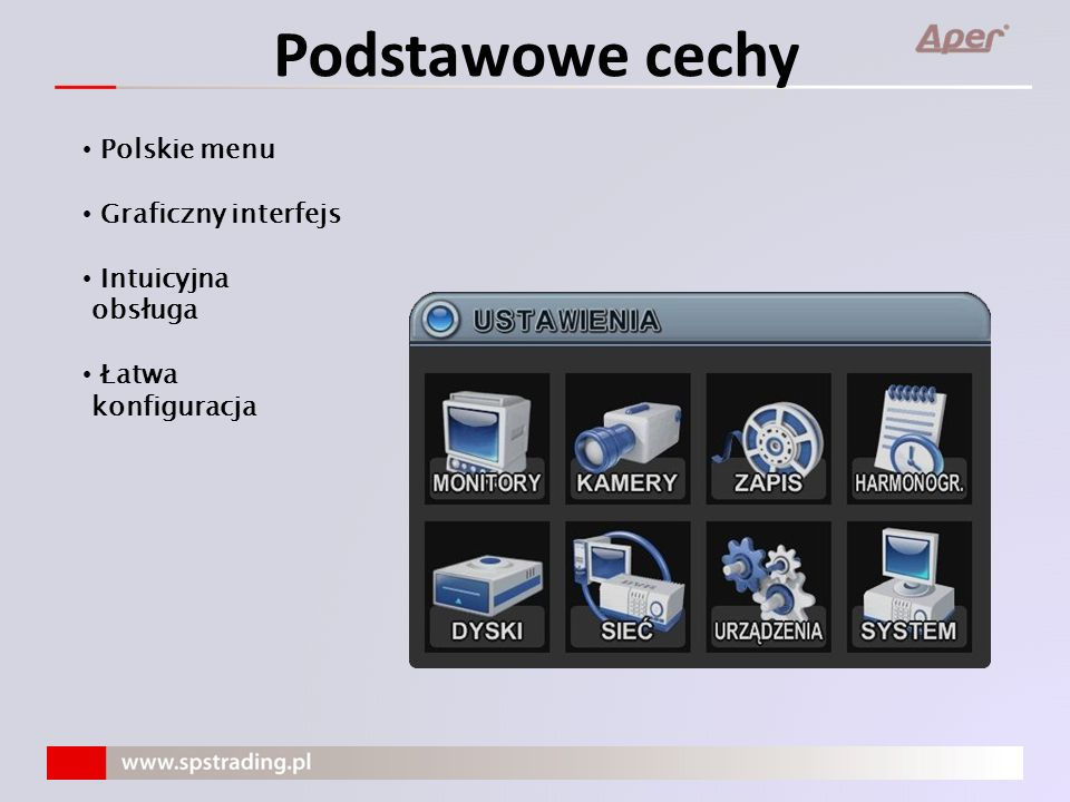 Podstawowe cechy Polskie menu Graficzny interfejs Intuicyjna obsługa