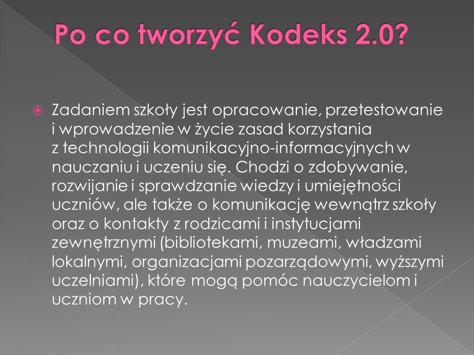 Po co tworzyć Kodeks 2.0