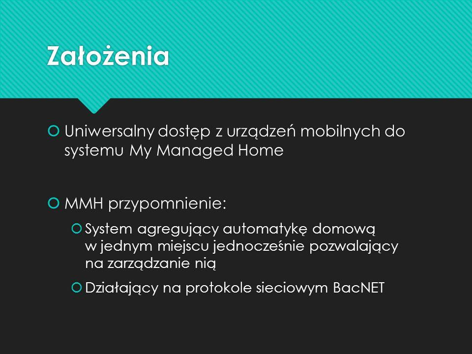 Założenia Uniwersalny dostęp z urządzeń mobilnych do systemu My Managed Home. MMH przypomnienie: