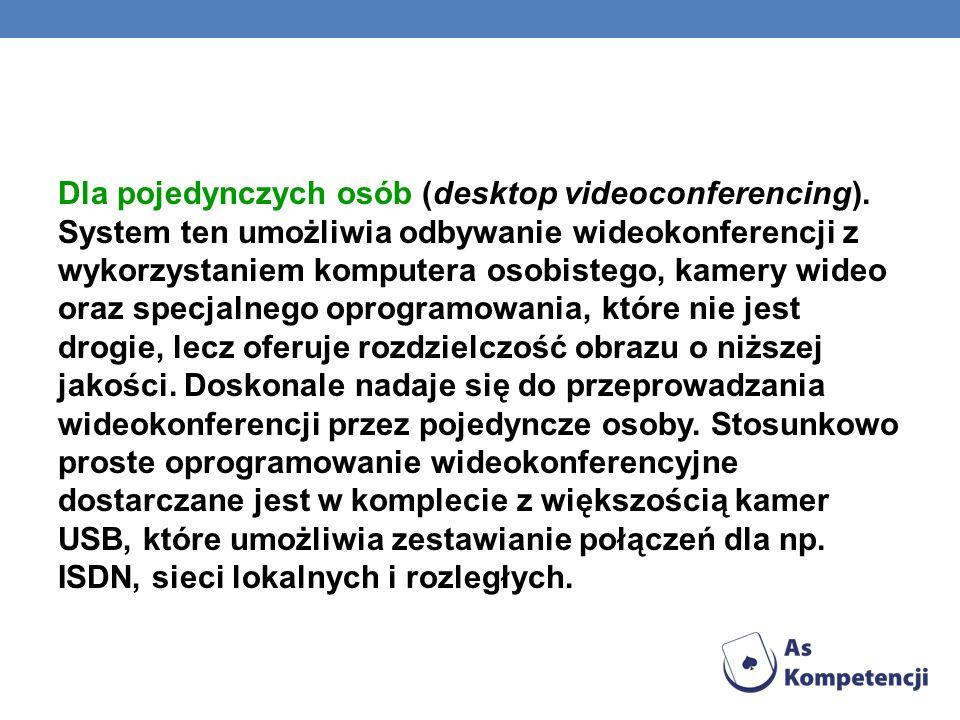 Dla pojedynczych osób (desktop videoconferencing)