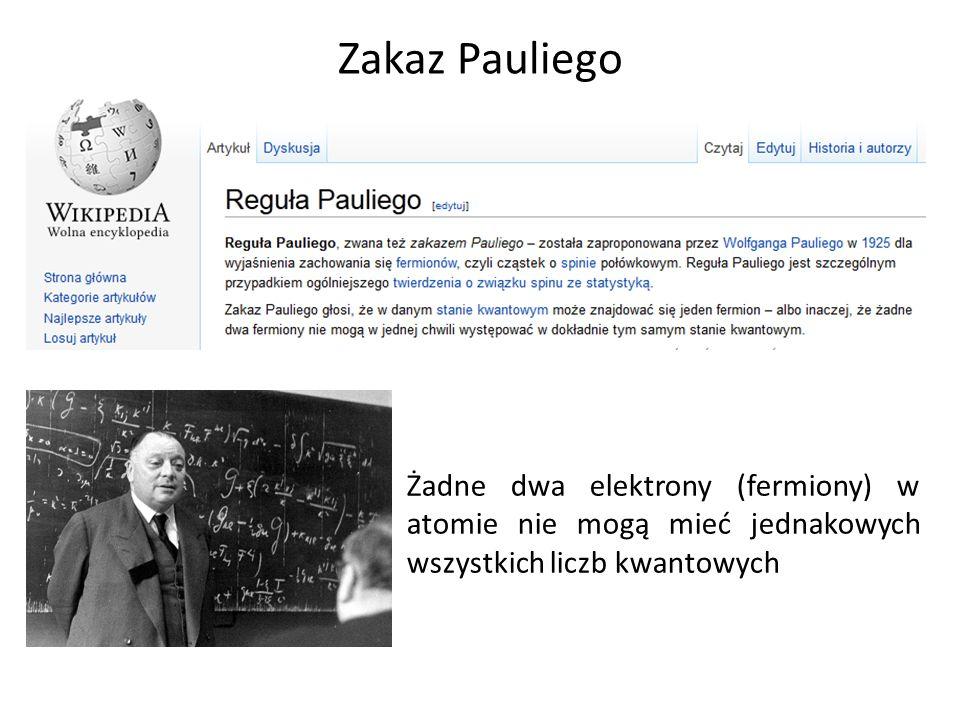 Zakaz Pauliego Żadne dwa elektrony (fermiony) w atomie nie mogą mieć jednakowych wszystkich liczb kwantowych.