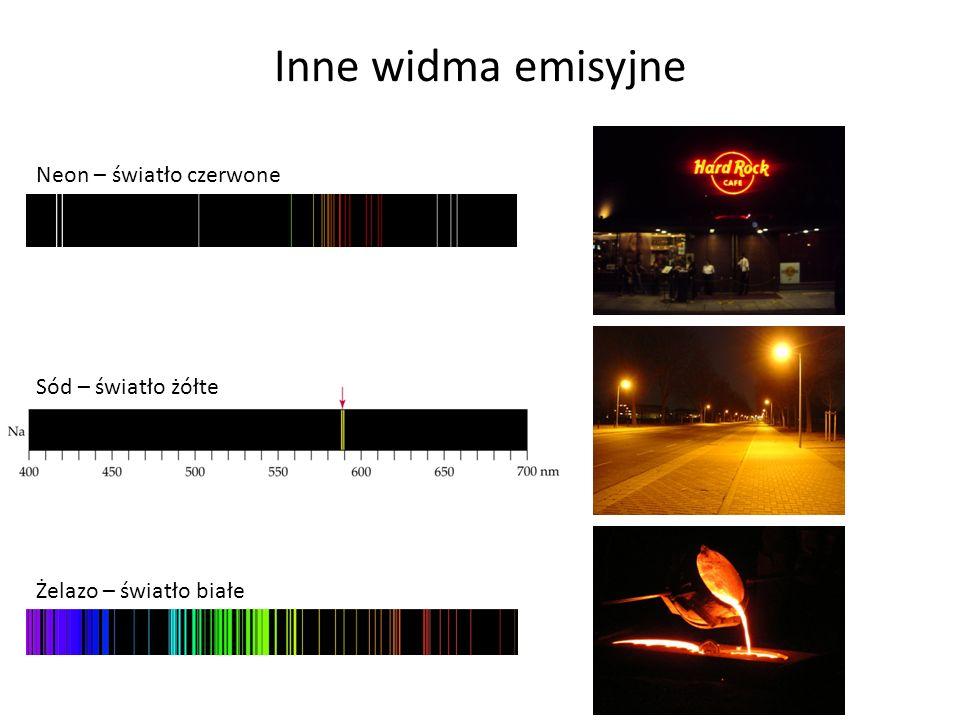 Inne widma emisyjne Neon – światło czerwone Sód – światło żółte