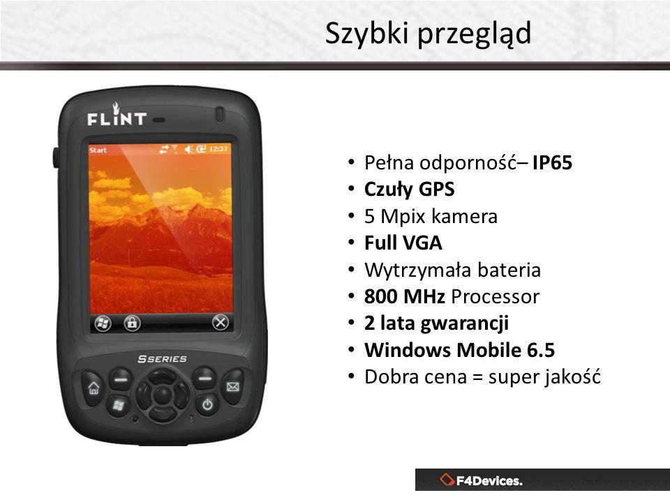 Szybki przegląd Pełna odporność– IP65 Czuły GPS 5 Mpix kamera Full VGA