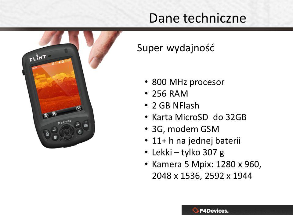 Dane techniczne Super wydajność 800 MHz procesor 256 RAM 2 GB NFlash