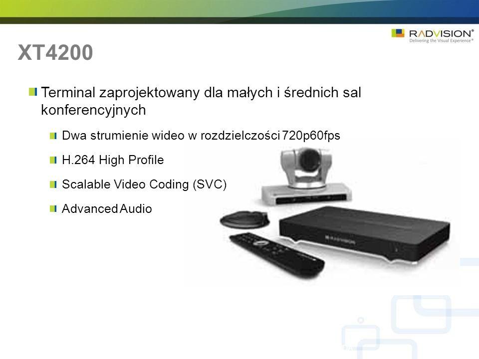 XT4200 Terminal zaprojektowany dla małych i średnich sal konferencyjnych. Dwa strumienie wideo w rozdzielczości 720p60fps.
