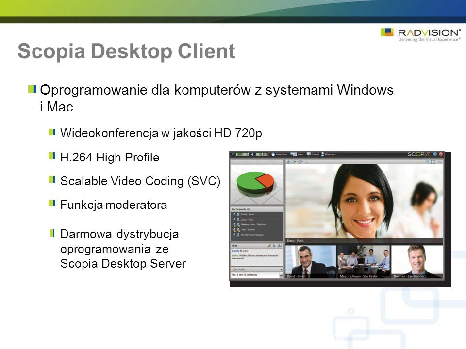Scopia Desktop ClientOprogramowanie dla komputerów z systemami Windows i Mac. Wideokonferencja w jakości HD 720p.
