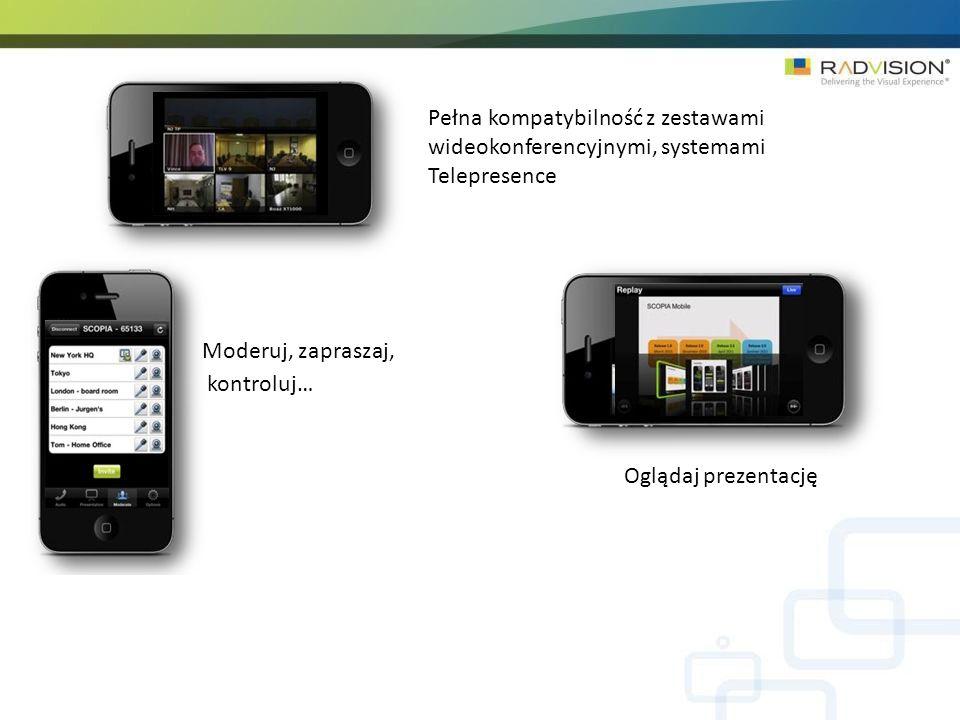 Pełna kompatybilność z zestawami wideokonferencyjnymi, systemami Telepresence