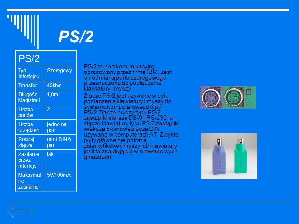 PS/2 PS/2. Typ Interfejsu. Szeregowy. Transfer. 40kb/s. Długość Magistrali. 1,8m. Liczba portów.