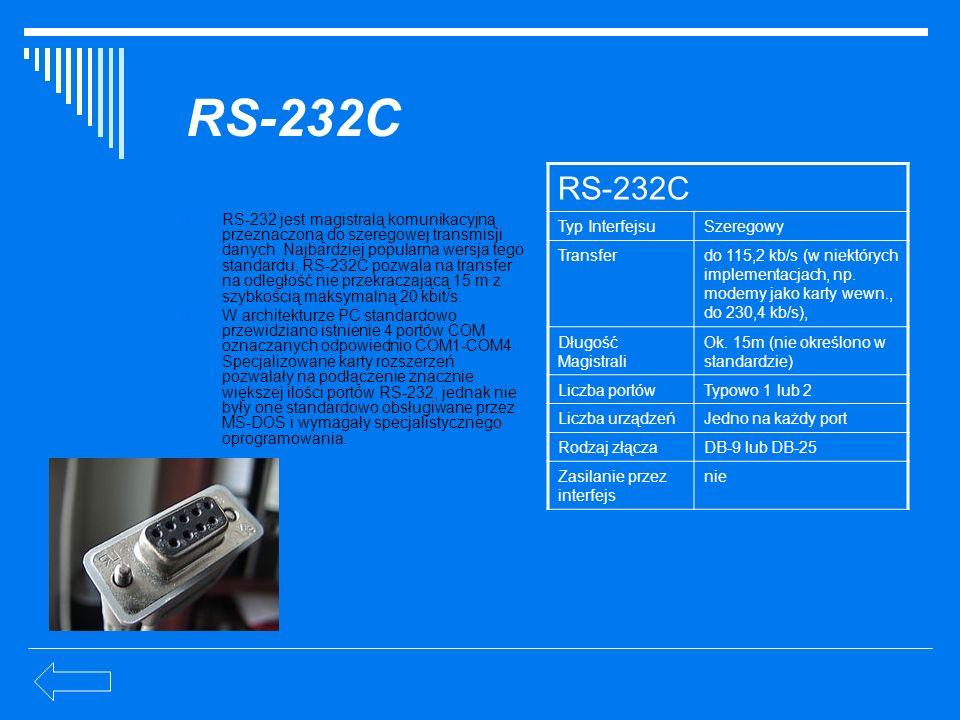 RS-232C RS-232C Typ Interfejsu Szeregowy Transfer
