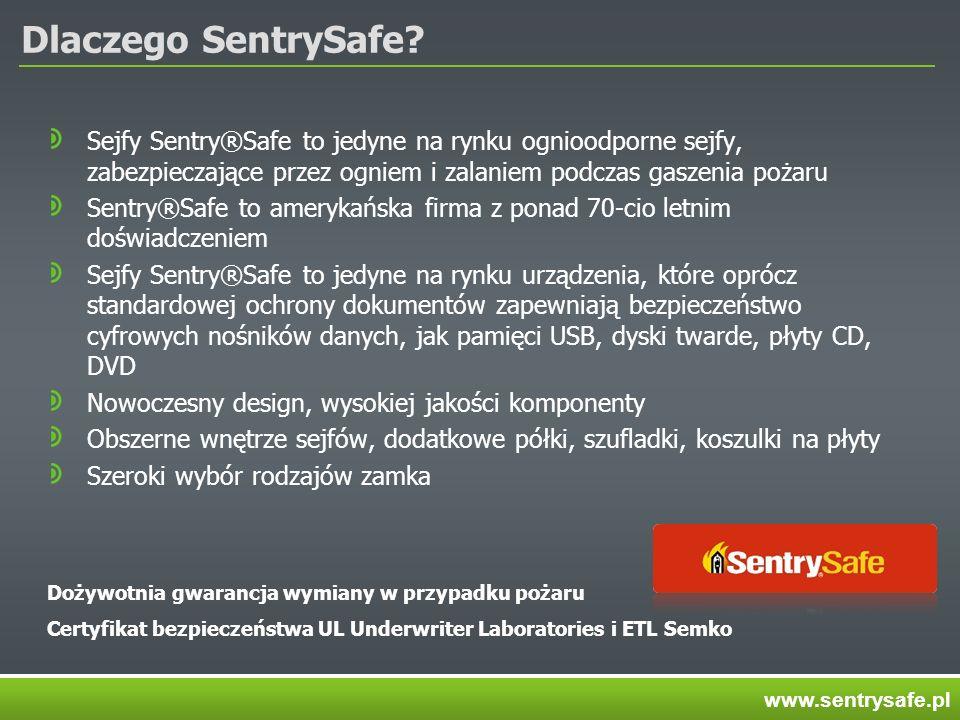 Dlaczego SentrySafe Sejfy Sentry®Safe to jedyne na rynku ognioodporne sejfy, zabezpieczające przez ogniem i zalaniem podczas gaszenia pożaru.