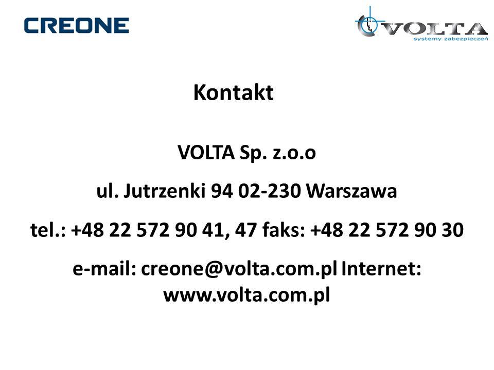 Kontakt VOLTA Sp. z.o.o ul. Jutrzenki 94 02-230 Warszawa