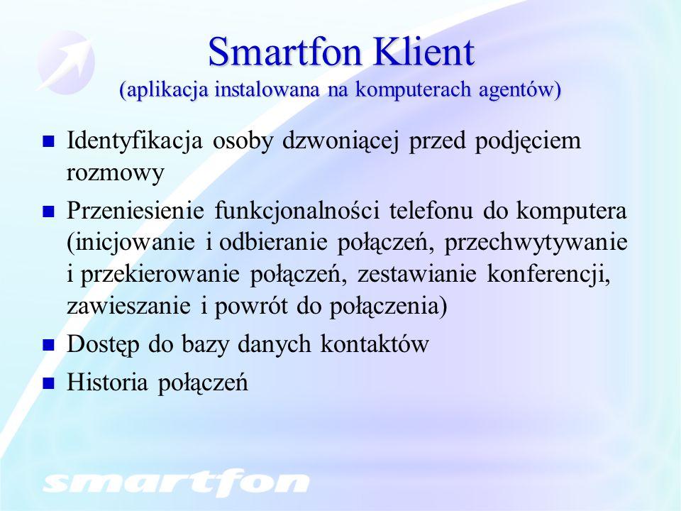 Smartfon Klient (aplikacja instalowana na komputerach agentów)