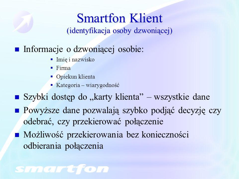 Smartfon Klient (identyfikacja osoby dzwoniącej)