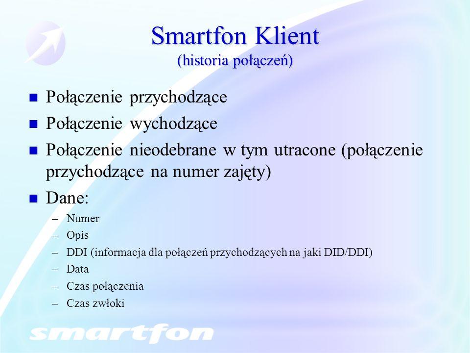 Smartfon Klient (historia połączeń)