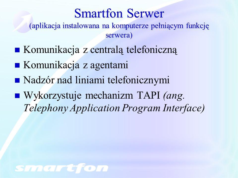 Smartfon Serwer (aplikacja instalowana na komputerze pełniącym funkcję serwera)