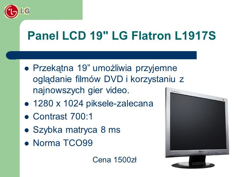 Panel LCD 19 LG Flatron L1917SPrzekątna 19 umożliwia przyjemne oglądanie filmów DVD i korzystaniu z najnowszych gier video.