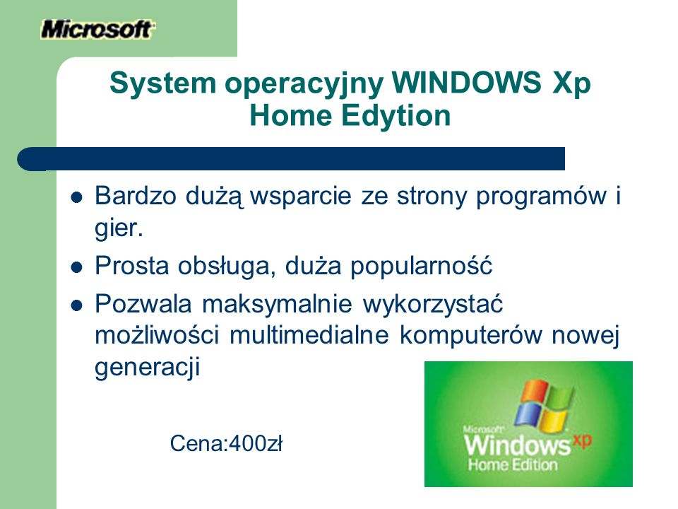 System operacyjny WINDOWS Xp Home Edytion