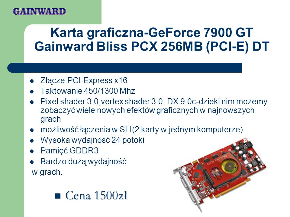 Karta graficzna-GeForce 7900 GT Gainward Bliss PCX 256MB (PCI-E) DT