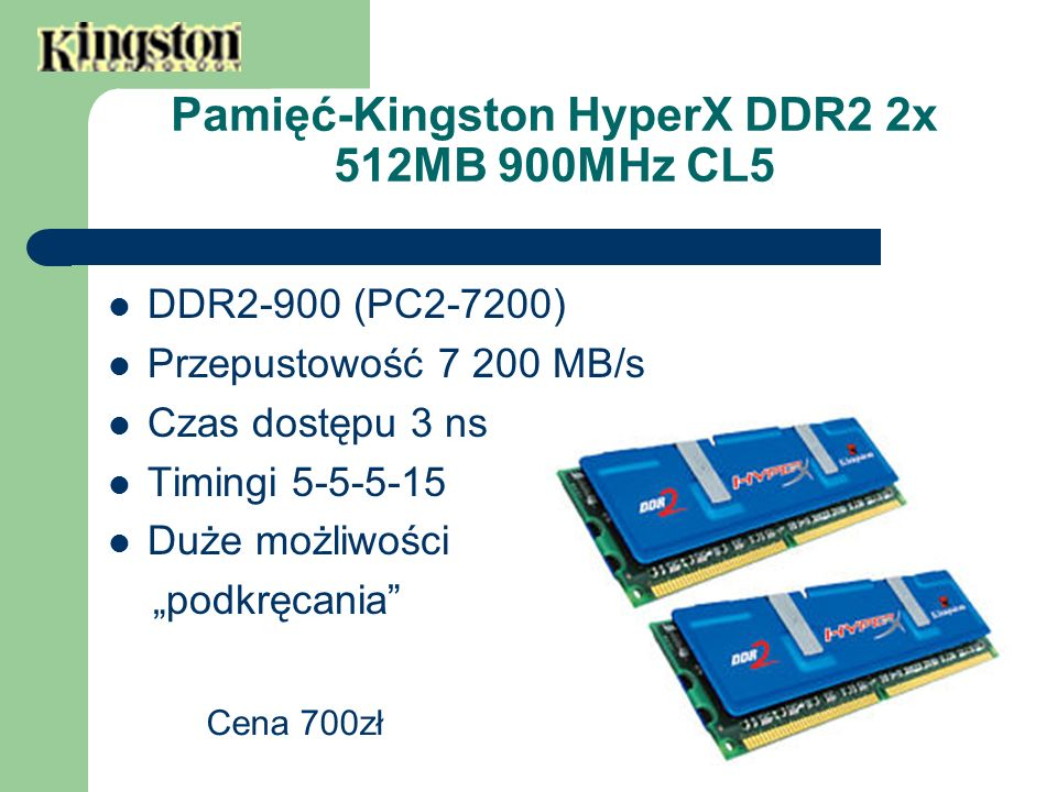 Pamięć-Kingston HyperX DDR2 2x 512MB 900MHz CL5