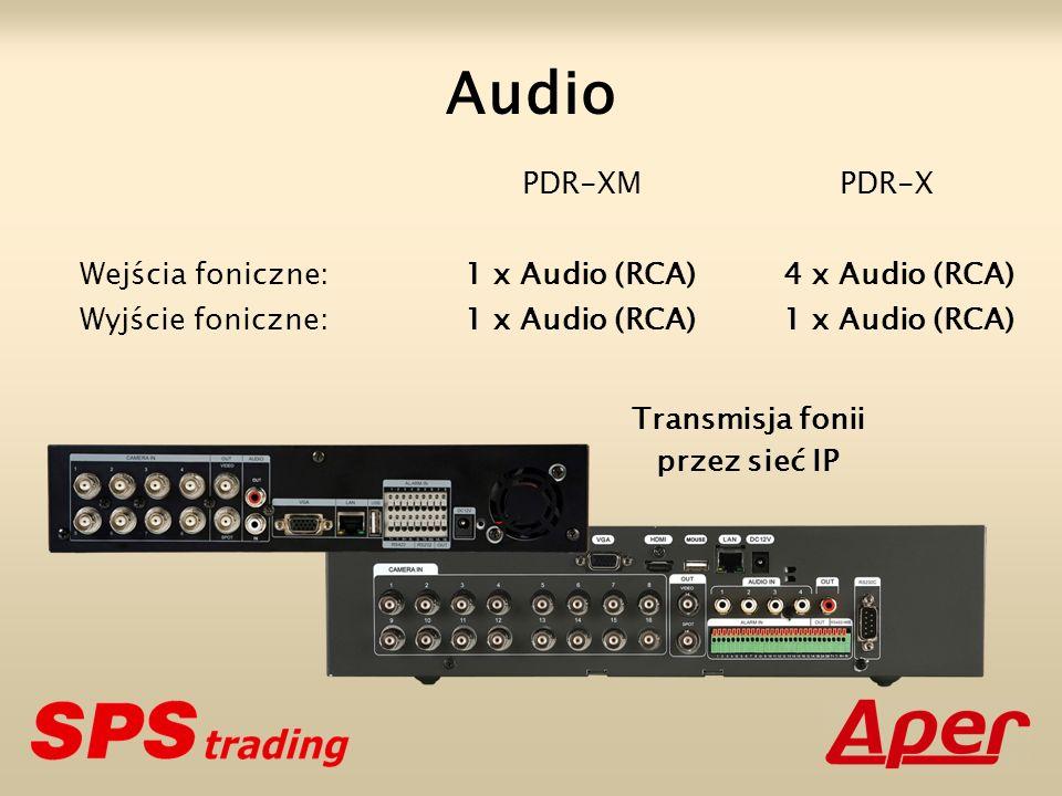 Audio PDR-XM PDR-X Wejścia foniczne: 1 x Audio (RCA) 4 x Audio (RCA)
