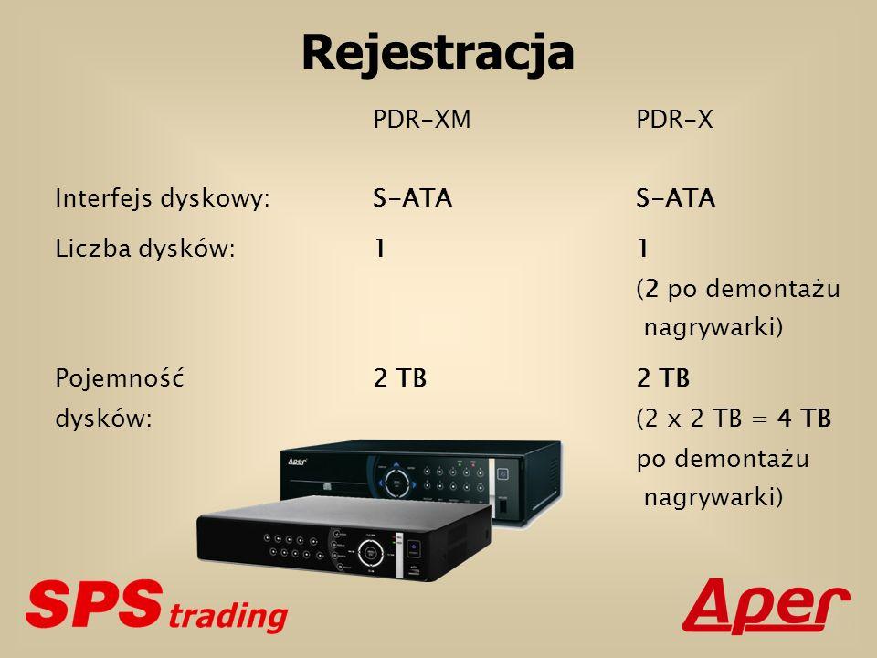 Rejestracja PDR-XM PDR-X Liczba dysków: 1 1 (2 po demontażu