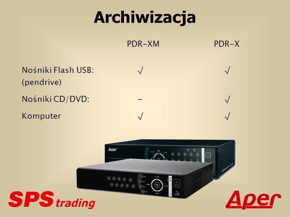 Archiwizacja PDR-XM PDR-X Nośniki CD/DVD: - √ Komputer √ √ (pendrive)