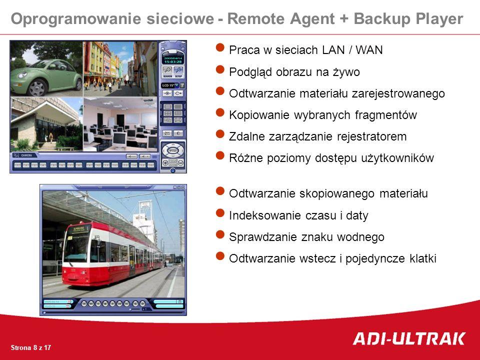 Oprogramowanie sieciowe - Remote Agent + Backup Player