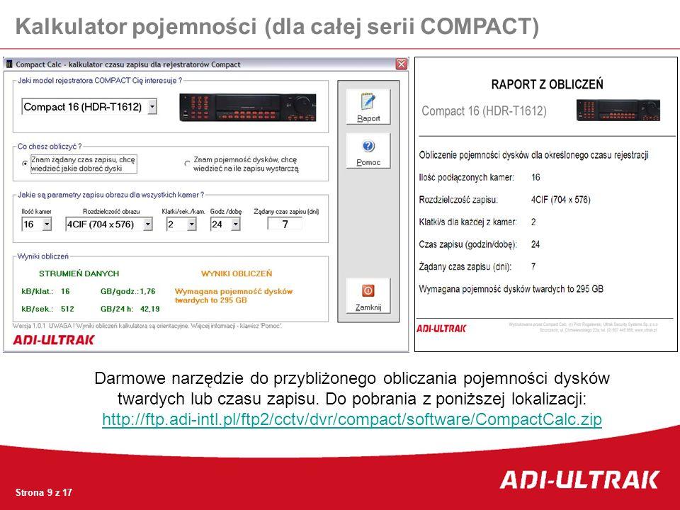 Kalkulator pojemności (dla całej serii COMPACT)