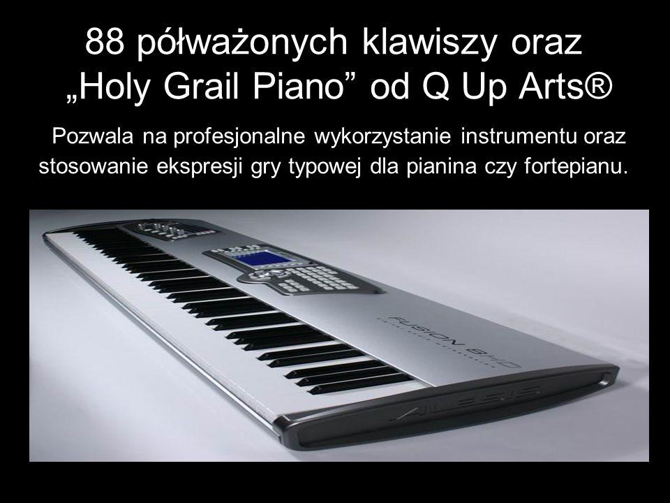 """88 półważonych klawiszy oraz """"Holy Grail Piano od Q Up Arts® Pozwala na profesjonalne wykorzystanie instrumentu oraz stosowanie ekspresji gry typowej dla pianina czy fortepianu."""