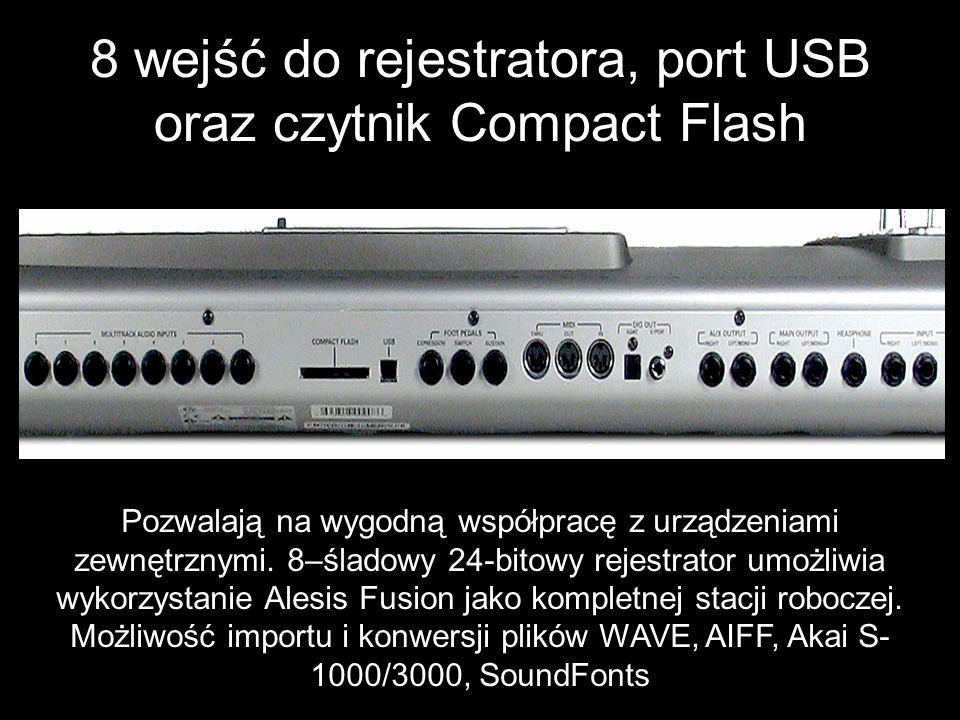8 wejść do rejestratora, port USB oraz czytnik Compact Flash
