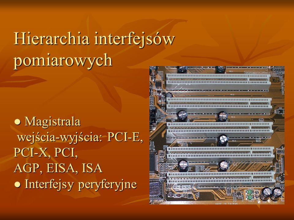 Hierarchia interfejsów pomiarowych ● Magistrala wejścia-wyjścia: PCI-E, PCI-X, PCI, AGP, EISA, ISA ● Interfejsy peryferyjne