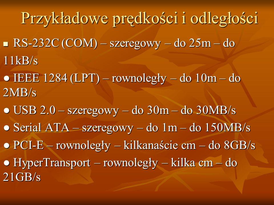 Przykładowe prędkości i odległości
