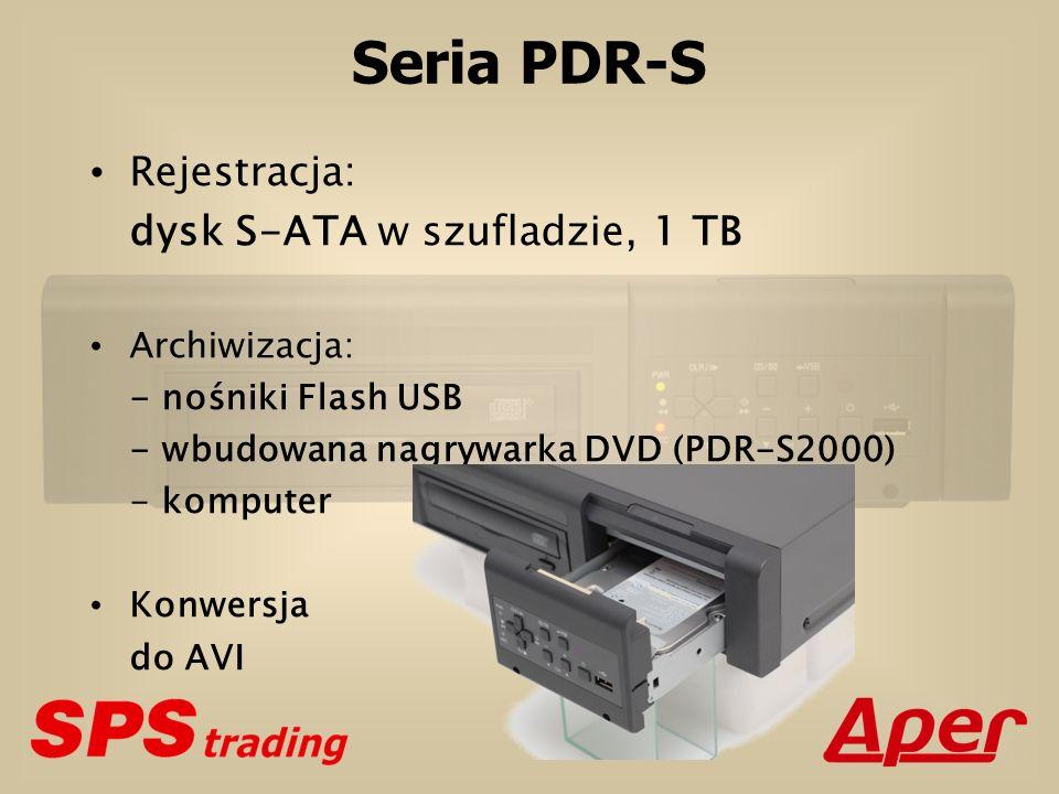 Seria PDR-S Rejestracja: dysk S-ATA w szufladzie, 1 TB Archiwizacja: