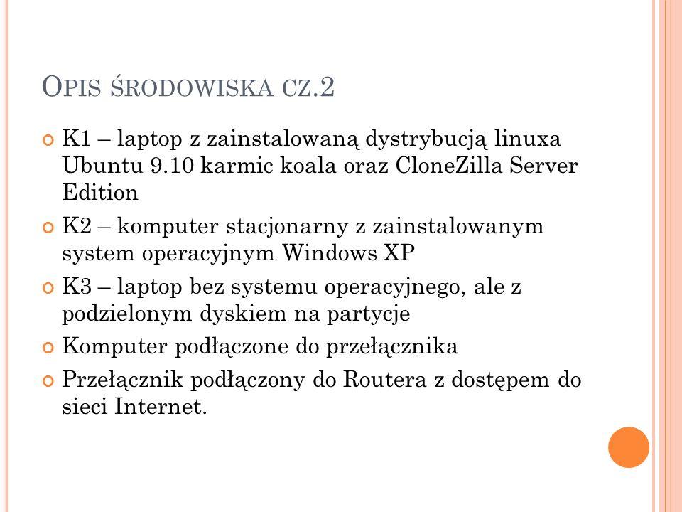 Opis środowiska cz.2 K1 – laptop z zainstalowaną dystrybucją linuxa Ubuntu 9.10 karmic koala oraz CloneZilla Server Edition.