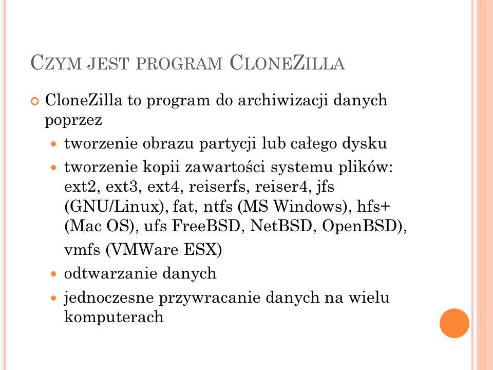 Czym jest program CloneZilla
