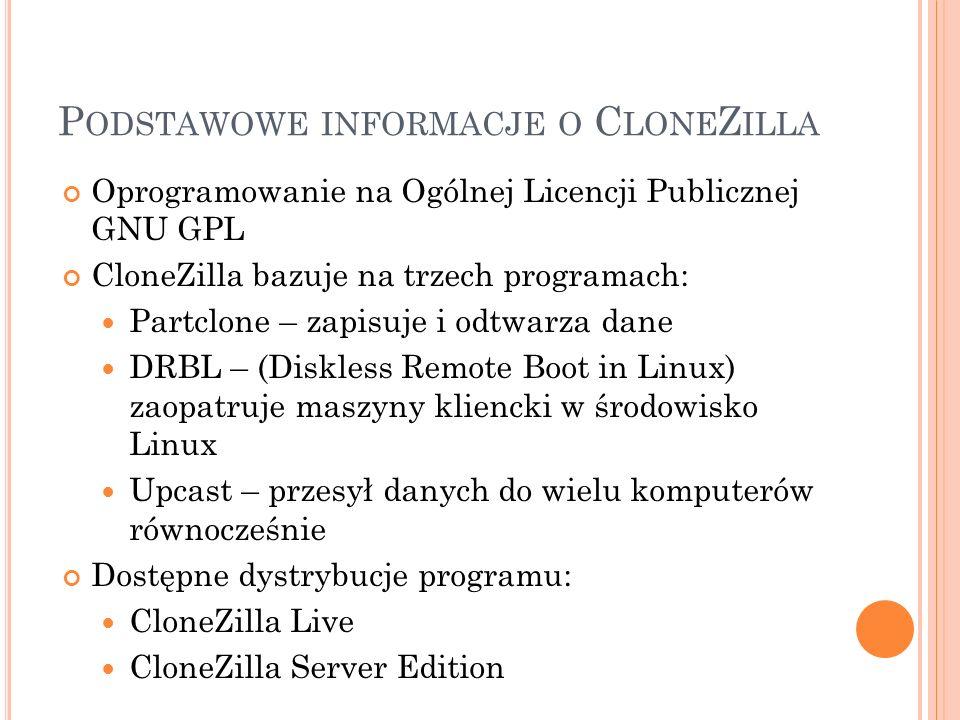 Podstawowe informacje o CloneZilla