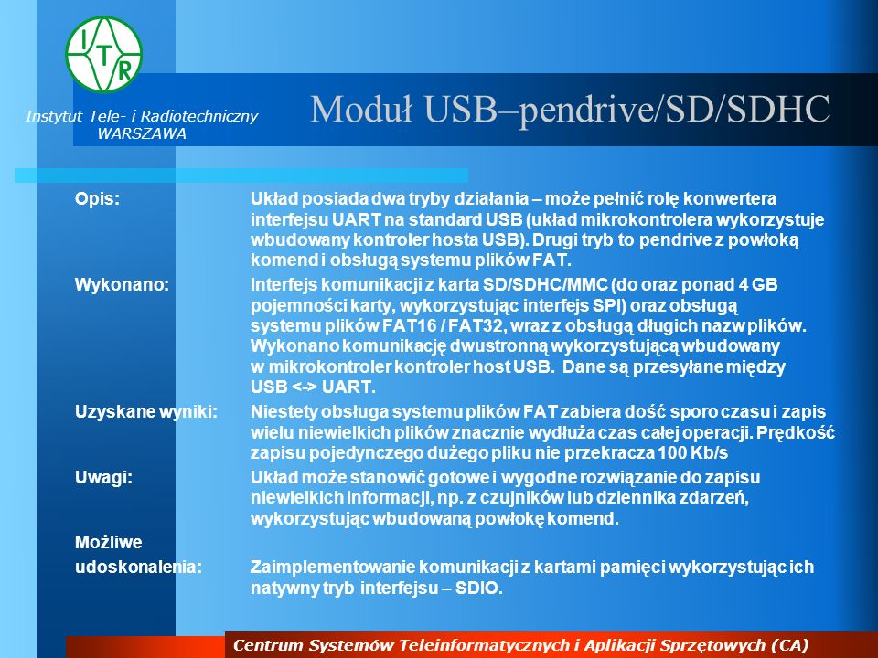 Moduł USB–pendrive/SD/SDHC