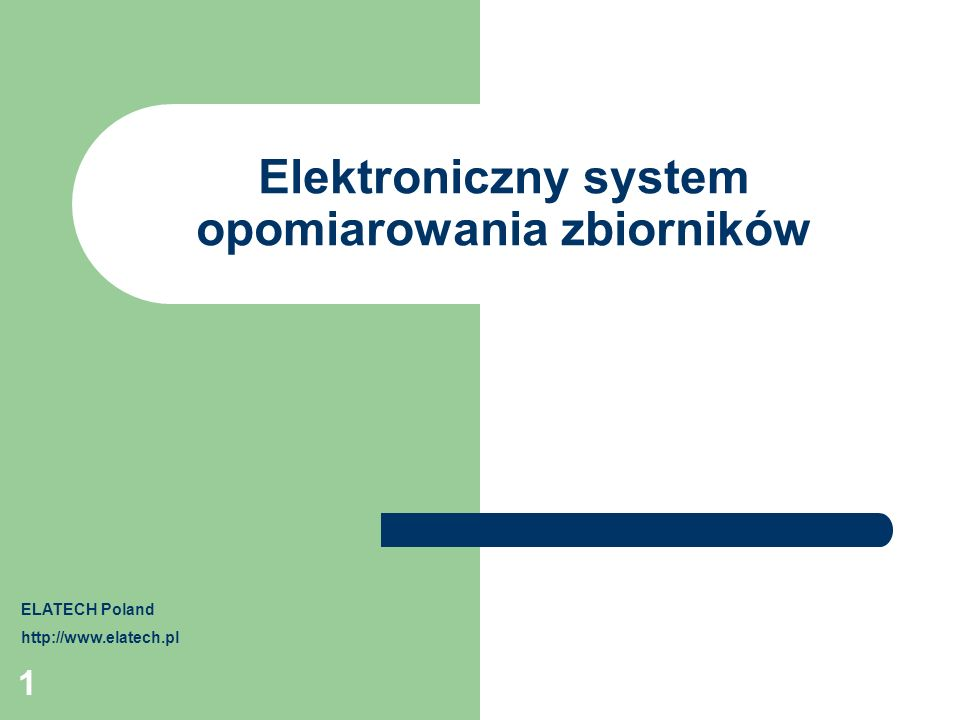 Elektroniczny system opomiarowania zbiorników