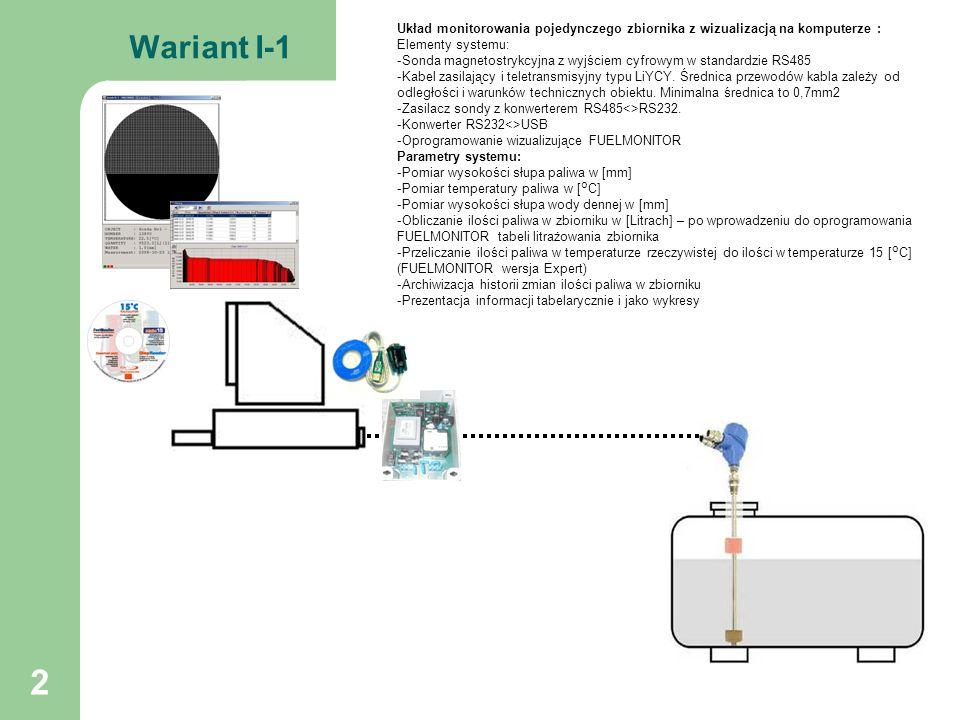 Układ monitorowania pojedynczego zbiornika z wizualizacją na komputerze :