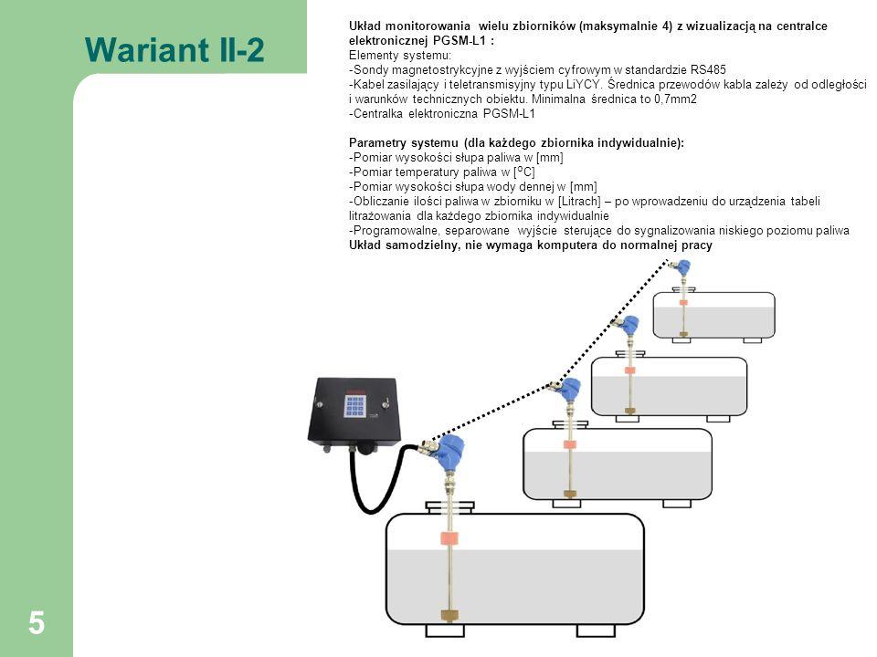Wariant II-2 Układ monitorowania wielu zbiorników (maksymalnie 4) z wizualizacją na centralce elektronicznej PGSM-L1 :