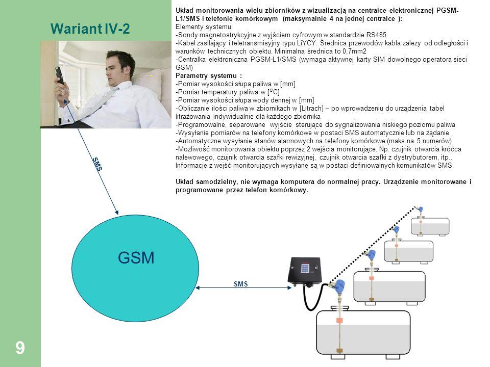 Układ monitorowania wielu zbiorników z wizualizacją na centralce elektronicznej PGSM-L1/SMS i telefonie komórkowym (maksymalnie 4 na jednej centralce ):