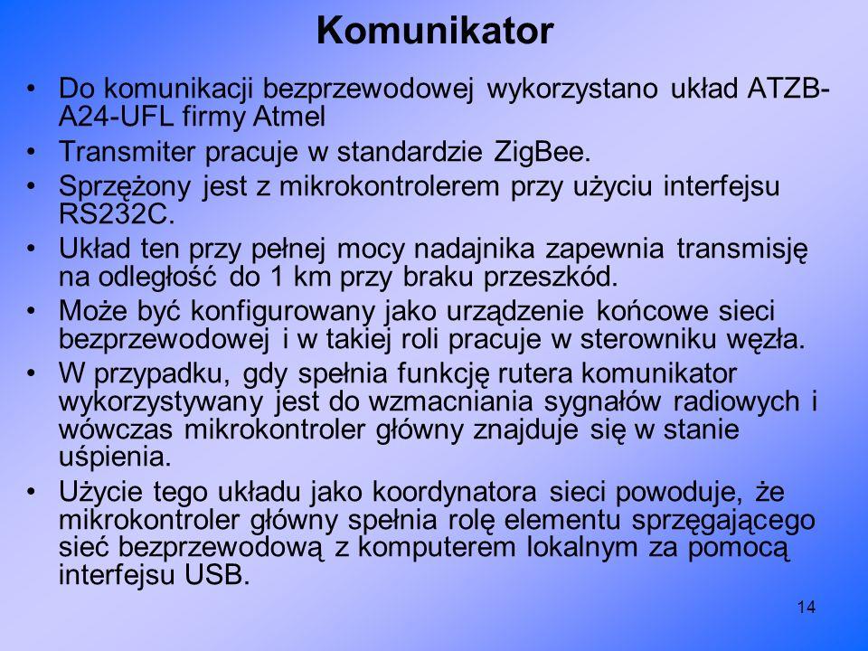 Komunikator Do komunikacji bezprzewodowej wykorzystano układ ATZB-A24-UFL firmy Atmel. Transmiter pracuje w standardzie ZigBee.
