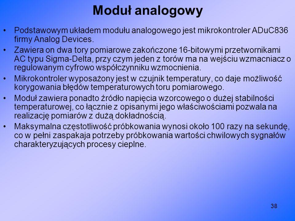 Moduł analogowy Podstawowym układem modułu analogowego jest mikrokontroler ADuC836 firmy Analog Devices.
