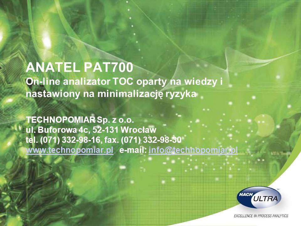 ANATEL PAT700 On-line analizator TOC oparty na wiedzy i nastawiony na minimalizację ryzyka